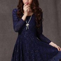 Kawaii Lolita Lace Slim Long Sleeve Dress - White, Yellow or Royal Blue - S M L XL from Tobi's Finds
