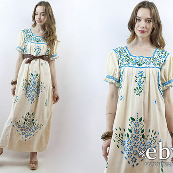 d9348a7e4ac Mexican Maxi Dress Embroidered Dress 1970s Dress 70s Dress Festi