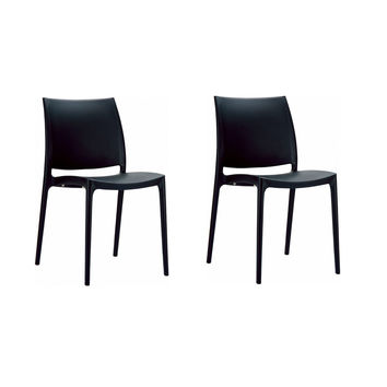 Set of 2 - Outdoor Indoor Stacking Patio Dining Side Chair in Modern Black Plastic
