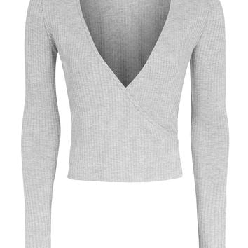 Long Sleeve Wrap Ribbed Top | Topshop