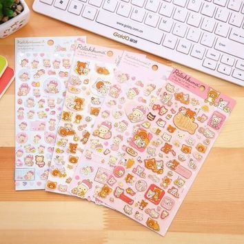 1pcs/lot Japan Cartoon Rilakkuma Friends series multifunctional washi paper sticker Scrapbook deco label office school supplies