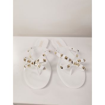 White Bow Studded Jelly Flat Sandals