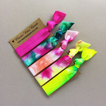 The Gypsy Tie Dye Hair Tie Ponytail Holder OR Headband Collection by Elastic Hair Bandz