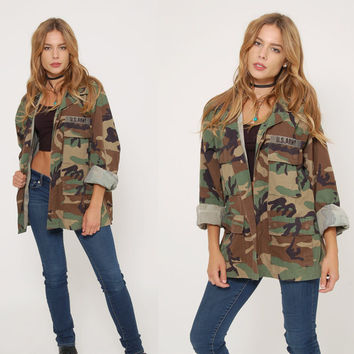 Vintage 90s CAMOUFLAGE Jacket Military ARMY Jacket  Oversized Unisex FATIGUE Jacket Grunge Outerwear