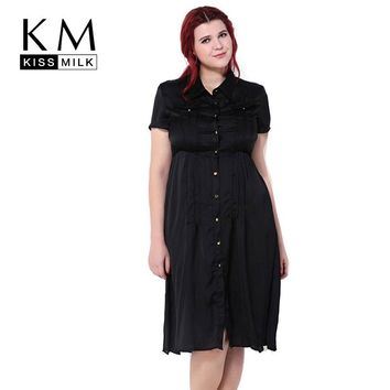 Kissmilk Plus Size New Fashion Women Big Size Retro Slim Short Sleeve Pocket Button Down Shirt Dress 3XL 4XL 5XL 6XL