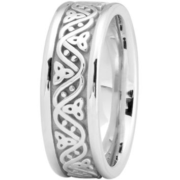 Wedding Band - Celtic Wave Mens Wedding Ring in Platinum