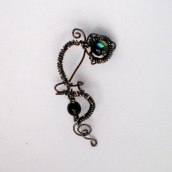 Ear Cuff Beaded Hematite Wire Coiled Design Large by stuffbyemily