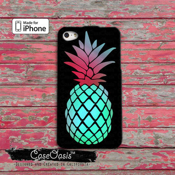 Pineapple Summer Fruit Blue Pink Cute Tumblr Custom iPhone 4 and 4s Case and iPhone 5/5s/5c Case and Wallet Case and iPhone 6 and 6 Plus +