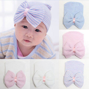 943d8ad97ec 1pcs Newborn Baby Infant Girl Toddler Comfy Bowknot Hospital Cap