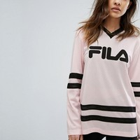 Fila Oversized Rugby Top With V Neck And Contrast Stripes In Mesh at asos.com