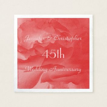 Elegant Coral Pink Rose, 45th Wedding Anniversary Napkin