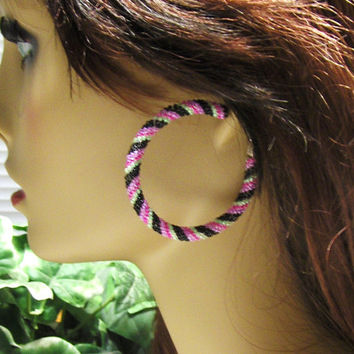 Hoop Earrings/Earrings/Stud Earrings/Gifts For Her/Beaded Earrings/Jewelry/Gifts For Wife/2 Inch Hoop Earrings/Womens Jewelry/Beaded Jewelry