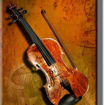 Antique Violin Vintage Picture on Acrylic , Wall Art Décor, Ready to Hang