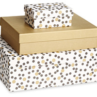 Dot Boxes, Gold/White/Black, Set of 3, Wrapping Paper