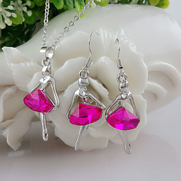 Fashion Jewelry / Austria crystal ballet girl Angel Earrings and necklace set