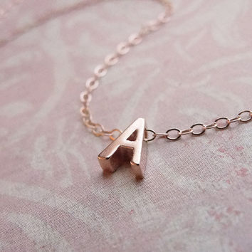Tiny rose gold letter necklace - Rose gold initial on rose gold filled chain