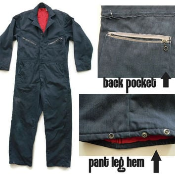 Vintage Navy Blue Mechanics Coveralls