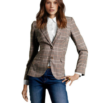 New 2016 Women Vintage Plaid Elbow Patch Two Button Blazer Ladies Autumn Basic Jackets Causal Suit Jacket chaquetas mujer