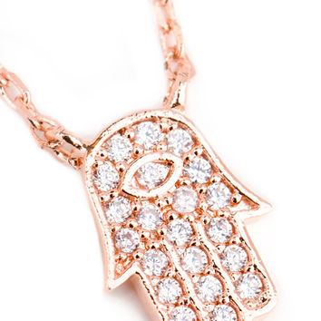 Little Hamsa Necklace - Rose Gold