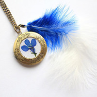 Beautiful Royal Blue Lobelia Flower Preserved under glass like Resin on a Vintage Bronze Locket with matching Marabou Feathers