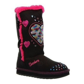 Girls' Skechers Twinkle Toes Keepsakes Heart Warmer Black/Pink | Overstock.com Shopping - The Best Deals on Boots