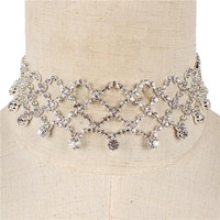 "12"" crystal fish scale drape choker bib collar necklace 1.25"" wide bridal"