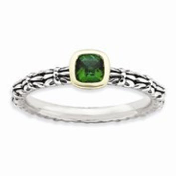 Sterling Silver & 14k Yellow Gold Checker-cut Emerald Antiqued Ring
