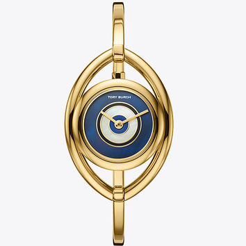 Tory Burch The Evil Eye Bangle Watch, Gold-tone/ivory, 25mm