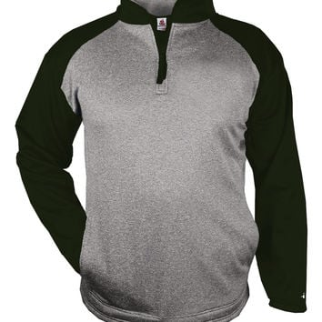 Badger 1484 Sport Heather 1/4 Zip - Steel Heather Forest