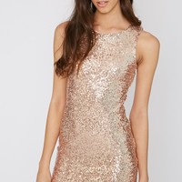 Emory Rose Gold Cut Out Sequin Dress- Dresses - PrettyLittleThing | PrettyLittleThing.com