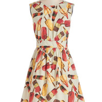 Emily and Fin Quirky Mid-length Cap Sleeves A-line Too Much Fun Dress in Popsicles