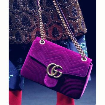 GUCCI Marmont Women Shopping Leather Metal Chain Crossbody Satchel Shoulder Bag Velvet