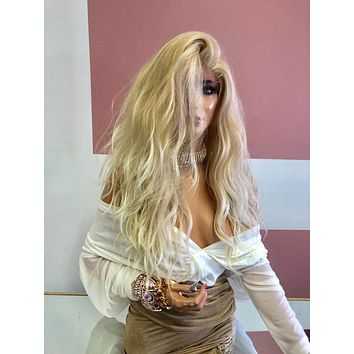 """Blond Swiss Lace Wig 18"""" 219 