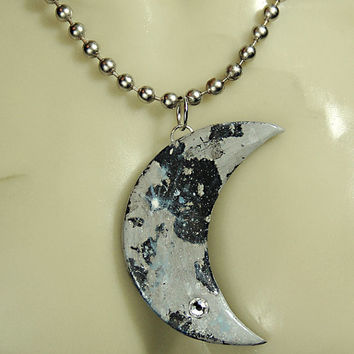 "Swarovski Diamond Crystal Encrusted - ""CRESCENT MOON PENDANT""  - Men's Unisex Large Silver Ball Chain Necklace - Handmade by Hallowed Earth"