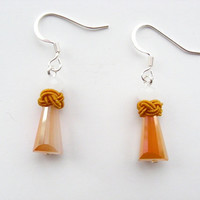 Orange Tower Earrings - Orange Beaded Earrings - Long Crystal Tower Earrings - Crystal Dangle - Womens Summer Jewelry - Mother's Day Jewelry