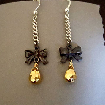 BLACK BOW TIE Earrings, Rock Chic, Silver Gold Pyrite Long Dangle Earrings, Oxidized Sterling Silver, Long Silver Chain Earrings, Boho Edgy