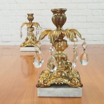 Art Nouveau Candlestick Pair  / Ornate Italian Marble and Brass Candle Holders with Glass Prisms / Vintage Home Decor