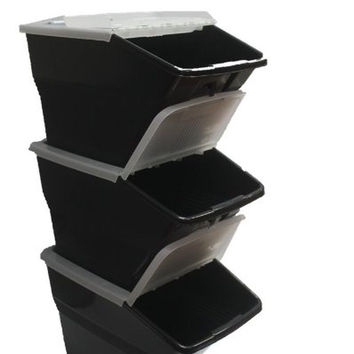 WTM BBCL- Three Pack of Stackable Bins with Hinged Lids 24 Quart Size (pack...