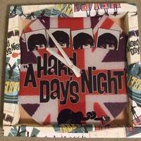 """The Beatles Wall Clock Hard Days Night in original box 13"""" wireless collectible"""