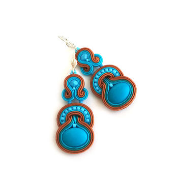 Dangle earrings - Native American style - Boho Southwestern - Soutache earrings - Wife Girlfriend Gift - Anniversary - Maid of honor Gift