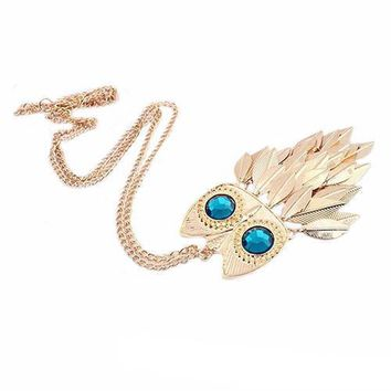 Blue Eyed Owl Charm Leaf Fringe Pendant Necklace