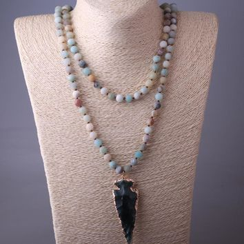 MOODPC Fashion 130cm Long Knot Amazonite Stones Arrowhead Pendant Necklace Handmade Women Natural Stone Bead Necklace