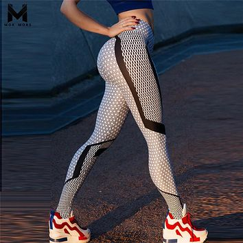 Hot 2018 New Black And White Honeycomb Printed Women's Leggings