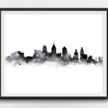 Philadelphia Print, Skyline, Watercolor Painting, Pennsylvania Art, PA, Philly, Cityscape, Printable, Home Decor, Wall Art, Gift, Download