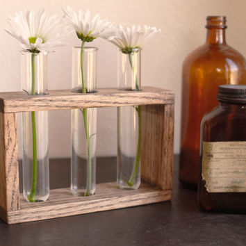 Rustic laboratory bud vase, test tube bud vase, vintage oak, industrial flower vase, reclaimed wood vase, glass bud vase