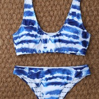 U Neck Tie Dyed Cute Bathing Suit