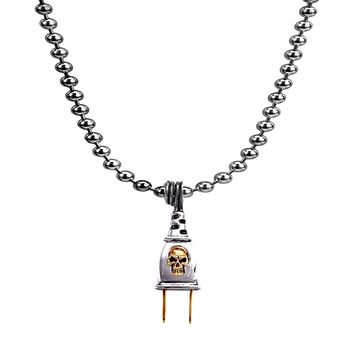 925 Sterling Silver Electric Power Plug Skull Pendant in Ball Chain Necklace 20