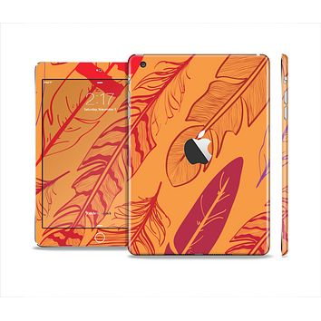The Orange and Red Vector Feathers Full Body Skin Set for the Apple iPad Mini 2