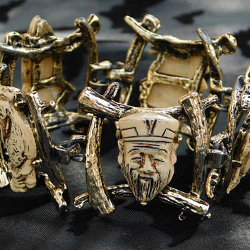 Vintage Bracelet ∙ Colco ∙ Gods of Fortune ∙ Unsigned ∙ Asian Figural Jewelry ∙ Mid Century ∙ Book Piece ∙ Statement Bracelet
