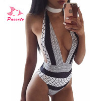 2017 Sexy Monokini One Piece African Print Swimsuit Black White Snake Skin Swimwear Female Women Thong Beach Bathing Suit Plavky